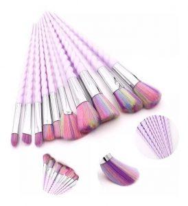 Selección de brochas maquillaje unicornio piezas colores para comprar On-line